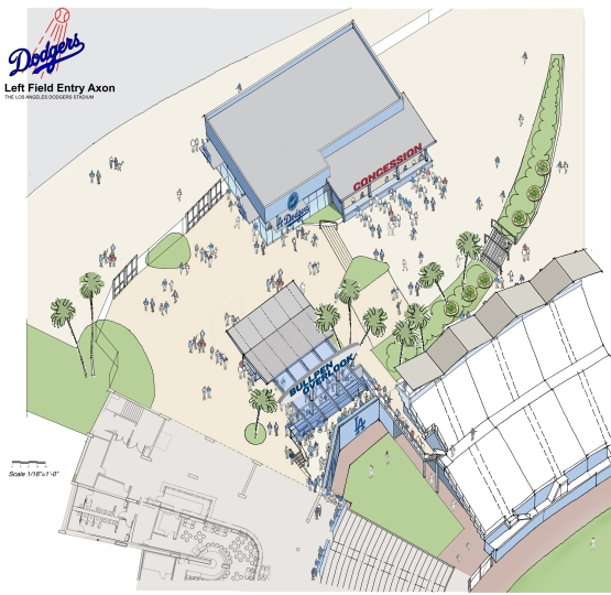 A rendering of the renovations behind left field at Dodger Stadium for 2014.