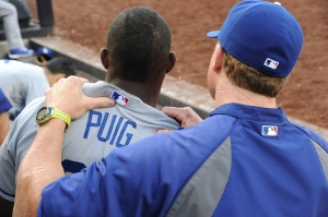 McGwire says patience his key for Puig in 2014.  Photo by Jon SooHoo/© Los Angeles Dodgers LLC, 2013