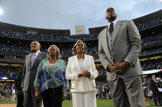 Don Newcombe, Sharon Robinson, Rachel Robinson and Magic Johnson at Dodger Stadium on April 15, 2013.