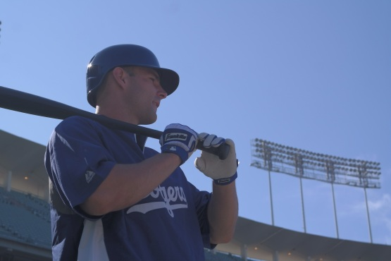 Jamie Romak takes his first batting practice as a Major Leaguer.