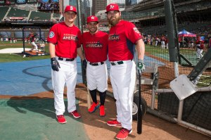 AL All-Stars Kyle Seager, Houston Astro Jose Altuve and Oakland A's catcher Derek Norris.