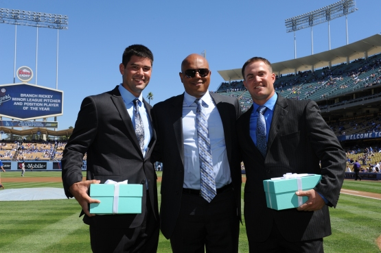 (From left) Zach Lee, De Jon Watson and Scott Schebler during the 2013 awards presentation. Schebler is a candidate for a 2014 award.