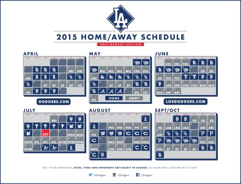 2015 schedule months