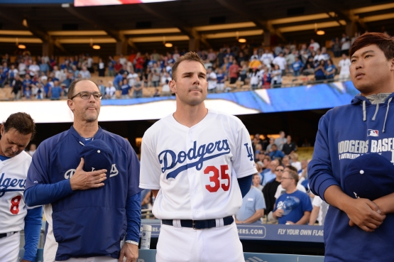 Jamie Romak on May 28, the day he was called up to the big leagues. (Jon Soo Hoo/Los Angeles Dodgers)