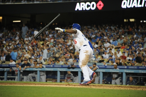 Yasiel Puig clocked in at 26.7 seconds per pitch at the plate. (Jon SooHoo/Los Angeles Dodgers)