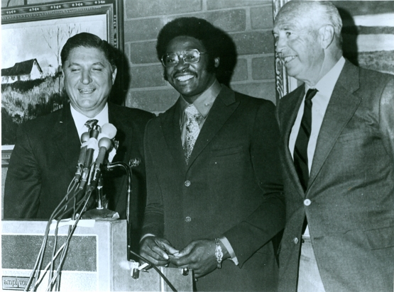 Al Campanis and Walter Alston introduce Dick Allen as a Dodger before the 1971 season.
