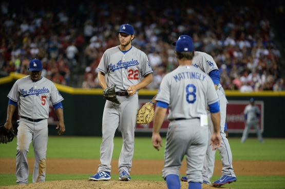 Don Mattingly comes to the mound to remove Clayton Kershaw in the second inning on May 17 at Arizona.