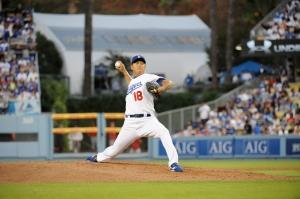 Hiroki Kuroda had a 1.46 ERA in the 2008 postseason. (Jon SooHoo/Los Angeles Dodgers)