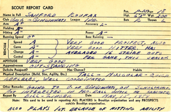 Sandy Koufax's scout report card from (circa 1954) courtesy of scouts.baseballhall.org