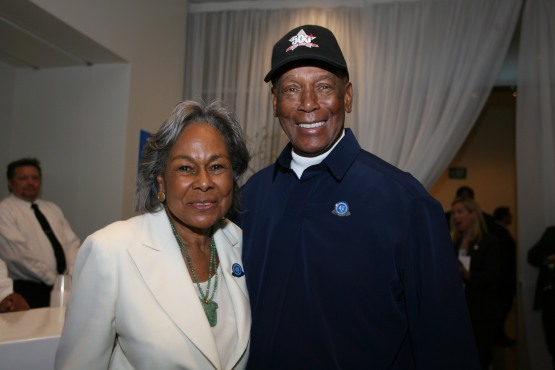 LOS ANGELES, CA - APRIL 15:  Rachel Robinson left poses with Ernie Banks after the press conference prior to the game to celebrate Jackie Robinson Day between the Los Angeles Dodgers and the San Diego Padres at Dodger Stadium in Los Angeles, California on April 15, 2007.  The Dodgers defeated the Padres 9-13.  (Photo by Rich Pilling/MLB Photos via Getty Images)