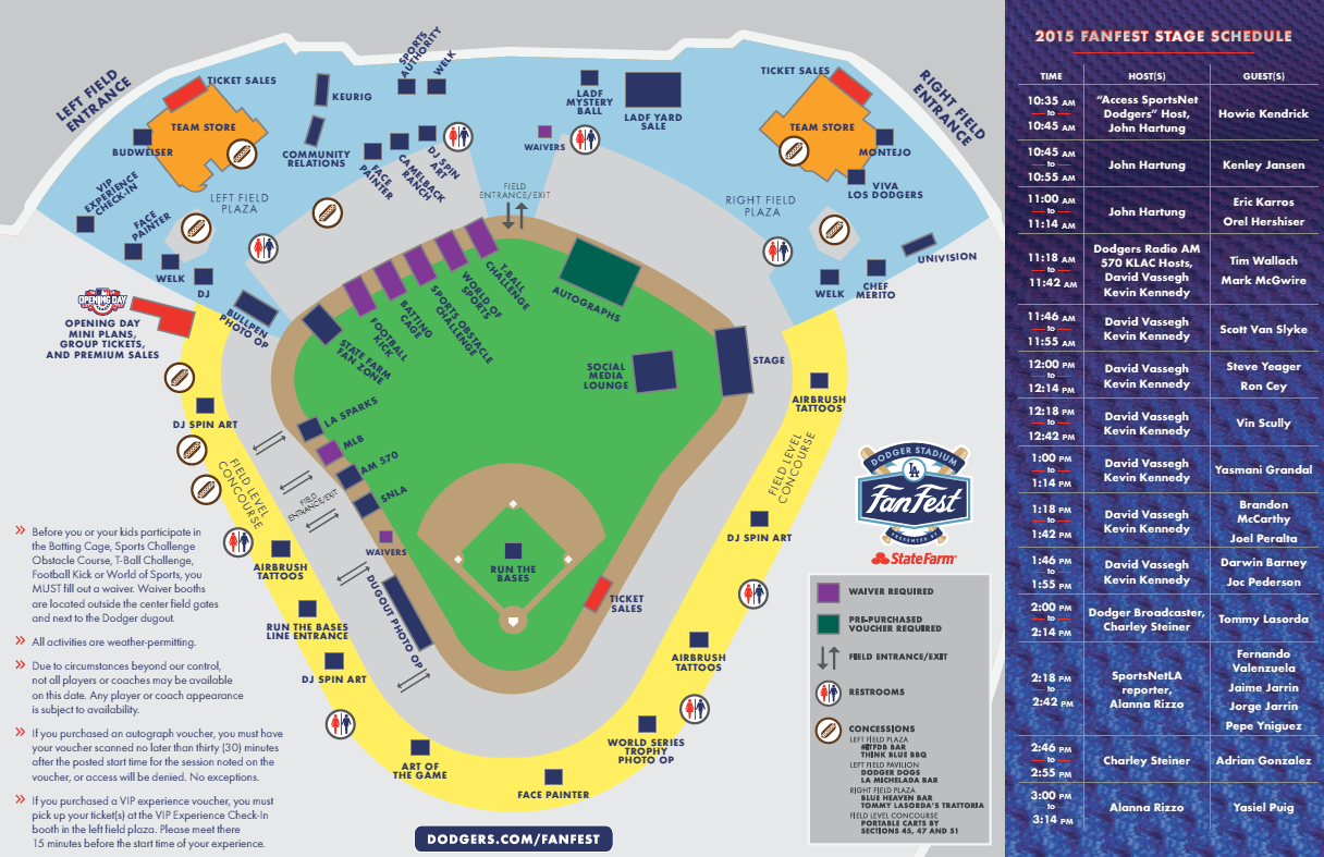 Dodgers FanFest map, schedule, details. | Inside the Dodgers on