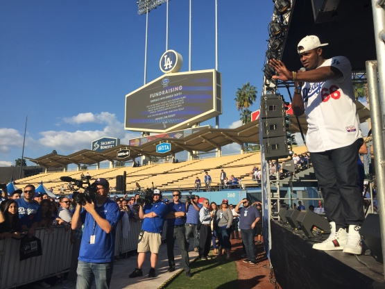 Yasiel Puig on stage at Saturday's Dodgers FanFest.