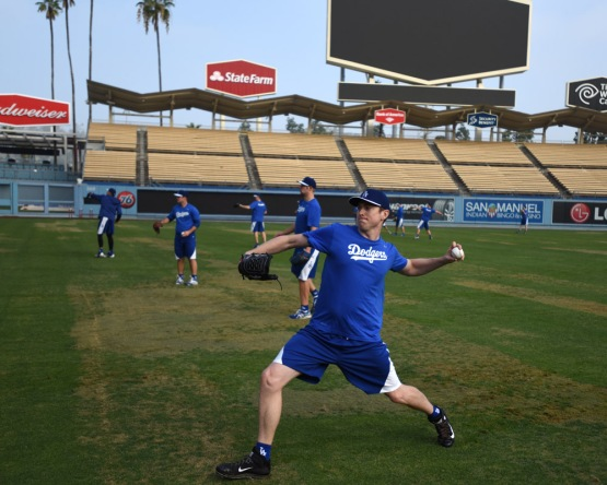 Chris Reed throws on Tuesday at Dodger Stadium.