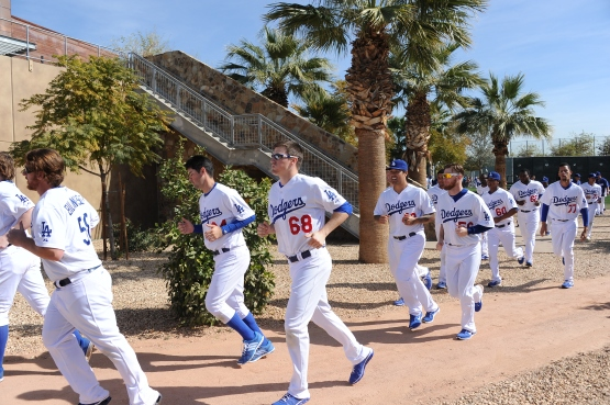 Ross Stripling (68) works out at Spring Training in 2014. (Jon SooHoo/Los Angeles Dodgers)