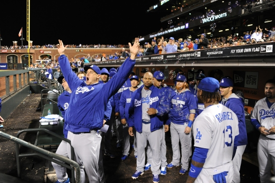 Jamey Wright celebrates a Dodger touchdown in their 17-0 victory over San Francisco in September. (Jon SooHoo/Los Angeles Dodgers)