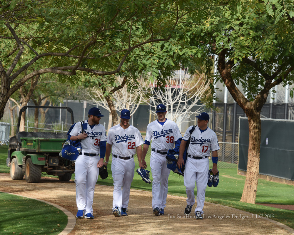 Brett Anderson, Clayton Kershaw, Brandon McCarthy and A.J. Ellis at Camelback Ranch on Monday.