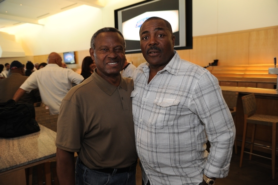 Manny Mota and Pedro Guerrero before Old-Timers Day at Dodger Stadium in June 2013. (Jon SooHoo/Los Angeles Dodgers)