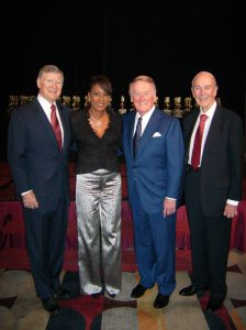 Ed Arnold, KCAL-TV Anchor Pat Harvey, Vin Scully and Stan Chambers at the Golden Mike awards in 2007.