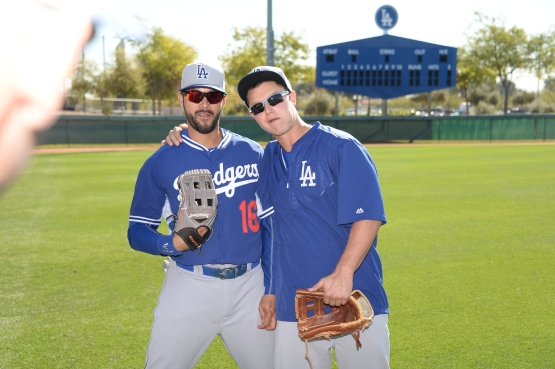 Andre Ethier and Joc Pederson come together before splitting off for today's split-squad games. (Jon SooHoo/Los Angeles Dodgers)
