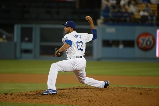 Yimi Garcia has retired 16 of 19 batters in 2015, striking out eight. (Jill Weisleder/Los Angeles Dodgers)