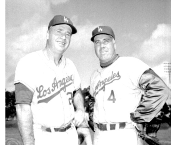 Walter Alston with Duke Snider, whose Dodger career ended in 1962.