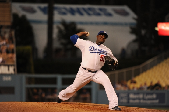 Rubby De La Rosa with the Dodgers in 2011 (Jill Weisleder/Los Angeles Dodgers).