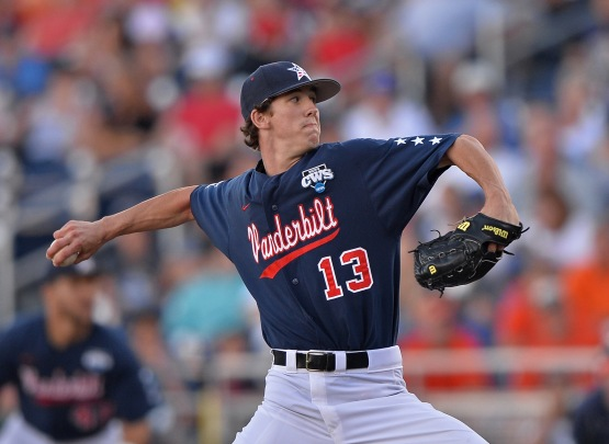 Walker Buehler at the 2014 College World Series (Peter Aiken/Getty Images)