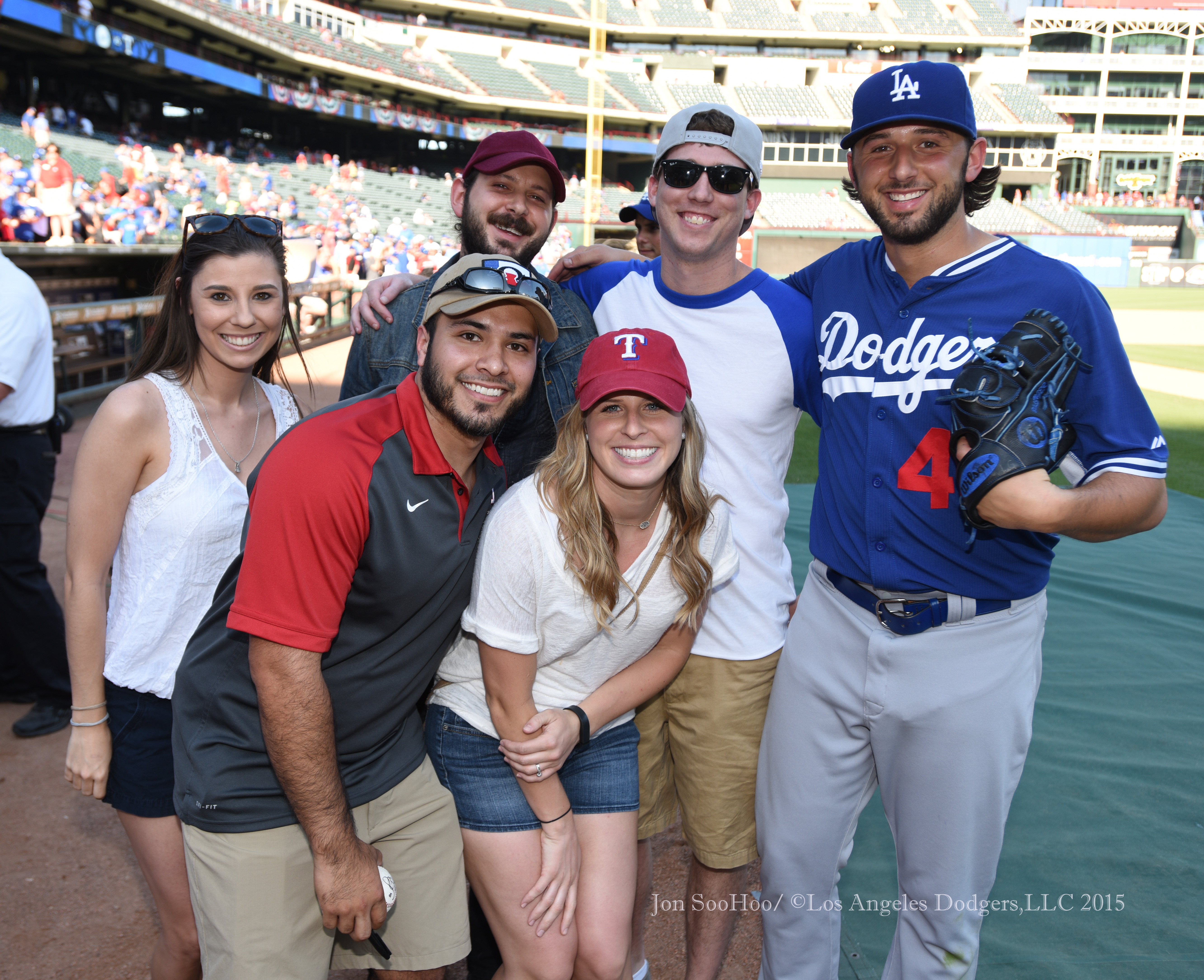 Mike Bolsinger with family and friends prior to Los Angeles Dodgers game against the Texas Rangers Monday, June 15, 2015 at Globe Life Park in Arlington Park,Texas. The Rangers beat the Dodgers 4-1. Photo by Jon SooHoo/© Los Angeles Dodgers,LLC 2015,LLC 2015