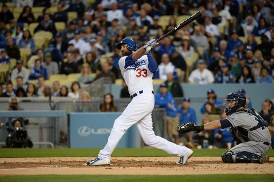 Scott Van Slyke has a .423 on-base percentage against lefties this season, but both his home runs have come against righties. (Jon SooHoo/Los Angeles Dodgers)