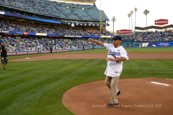 Maury Wills throwing out the first pitch Monday before the second-longest nine-inning game in Dodger Stadium history.