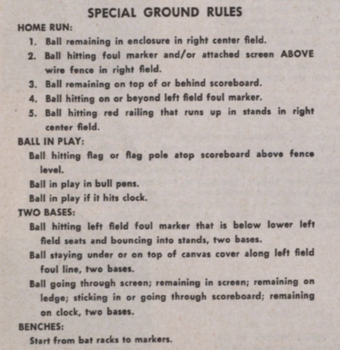 Ebbets Field ground rules larger