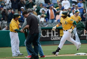 The last time Yoenis Cespedes faced the Dodgers, on June 21, 2012, he fouled out, flied out and fouled out against Clayton Kershaw, then hit a three-run walkoff homer off Josh Lindblom for Oakland. (Thearon W. Henderson/Getty Images)