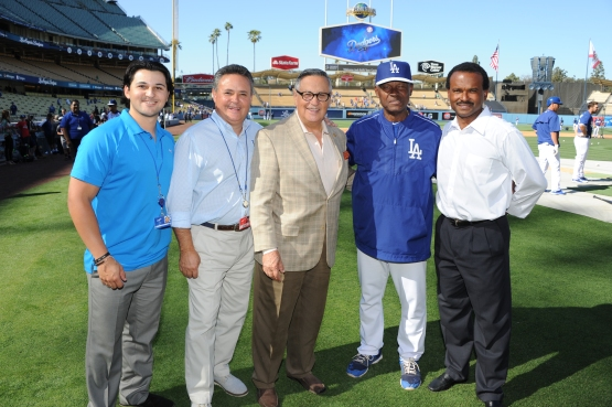 Stefan, Jorge and Jaime Jarrin with Manny and Jose Mota (Jon SooHoo/Los Angeles Dodgers)