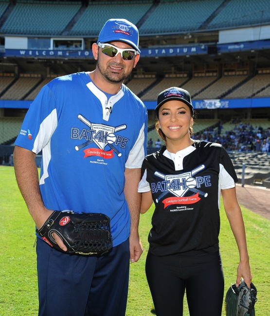 Adrian Gonzalez and Eva Longoria on Saturday at Dodger Stadium. Jon SooHoo/Los Angeles Dodgers