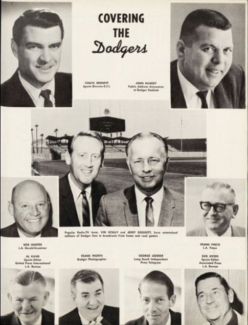 Just for kicks, this snapshot of Dodger broadcasters and beat writers, including 16-year veteran Vin Scully