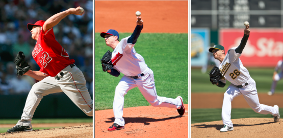 The Dodgers are Scott Kazmir's sixth team. Here are three of them (Getty Images)
