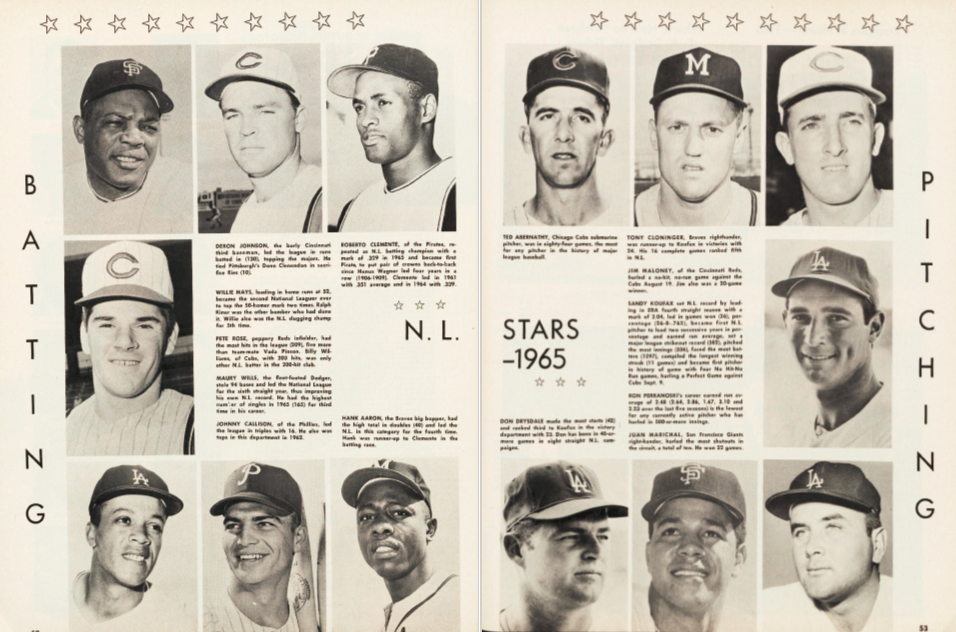 NL batting and pitching stars of 1965