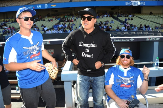 Joc Pederson, Hyun-jin Ryu and Justin Turner at Adrian Gonzalez's Bat4Hope Softball Game on November 7 at Dodger Stadium.