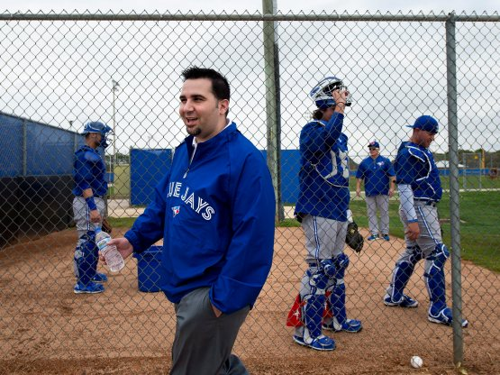 Alex Anthopoulos at Spring Training in Dunedin, Florida last year. (Nathan Denette/AP/The Canadian Press)
