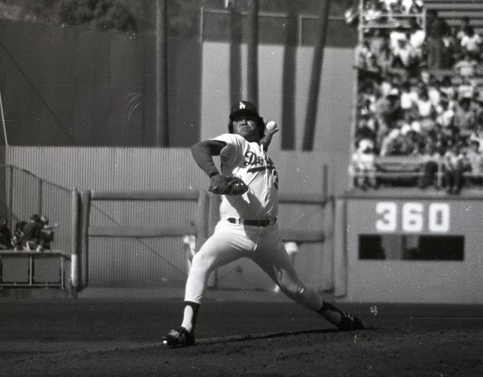Fernando Valenzuela, pitching against USC in an exhibition game before the 1981 season. (Jon SooHoo)