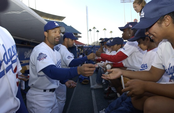 Dave Roberts as player with fans