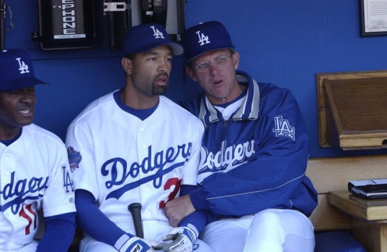 Dave Roberts and Jim Tracy (Photos by Jon SooHoo/Los Angeles Dodgers)