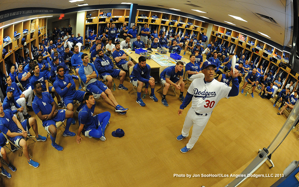 Dave Roberts speaks to the team today during first full-squad meeting of the year.