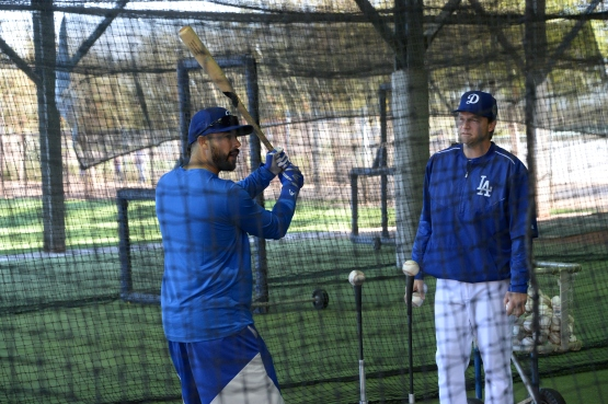 Dodgers assistant hitting coach Tim Hyers, right, works with Andre Ether. Jon SooHoo/Los Angeles Dodgers