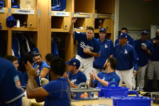 Los Angeles Dodgers Jamey Wright is introduced to the team