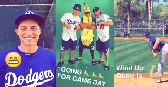 Screenshots from previous Dodger Snapchat stories this spring.
