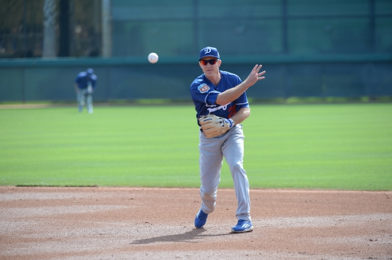 Chase Utley works out on February 29. (Jon SooHoo/Los Angeles Dodgers)