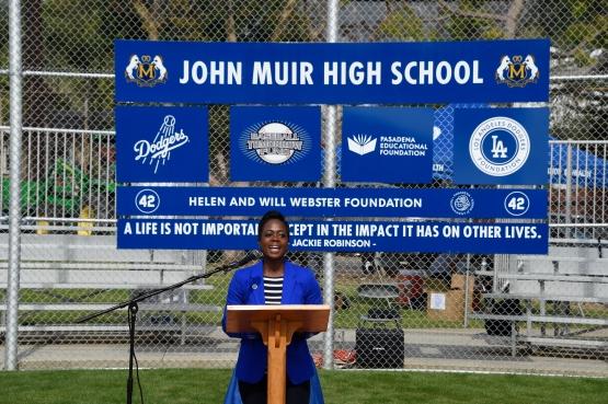 LADF executive director Nichol Whiteman speaks at the John Muir High School field dedication March 9. (Jon SooHoo/Los Angeles Dodgers)