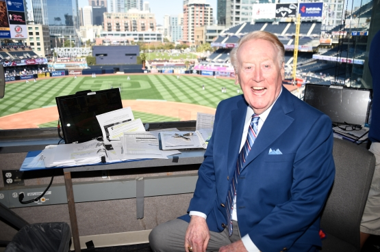 Vin Scully on Opening Day at San Diego on April 4. (Jon SooHoo/Los Angeles Dodgers)