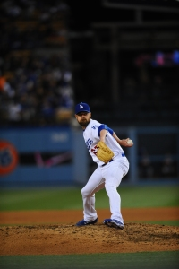 Louis Coleman pitching Monday against the Marlins, in his first game back after bereavement leave. (Juan Ocampo/Los Angeles Dodger)